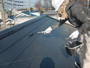 6大屋根上塗り施工中