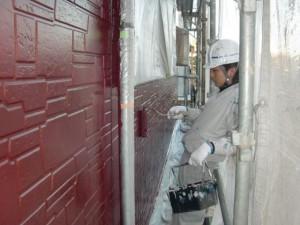 2015.01.30I様⑨1階部外壁上塗り施工中