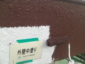 20180105T様邸⑪外壁中塗り施工中