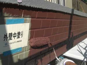 20180105T様邸⑩外壁タイル部中塗り施工中