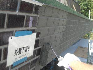 20180105T様邸⑦外壁タイル部下塗り施工中