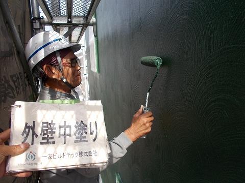 20180713Y様邸④外壁(グリーン)中塗り2回目