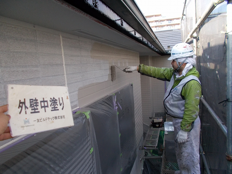 20190405S様邸④外壁 中塗り